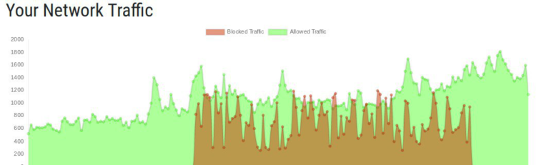 Network traffic showing blocked and allowed traffic with Enhanced DDoS Protection